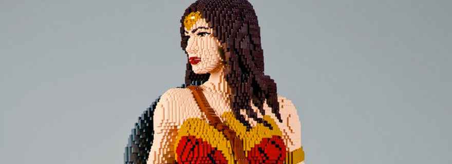wonder woman lego statue to be showcased at comic con dc comics movie